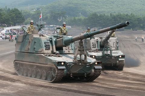 富士学校・富士駐屯地開設57周年記念行事 記念式典・パレード 99式自走155mmりゅう弾砲